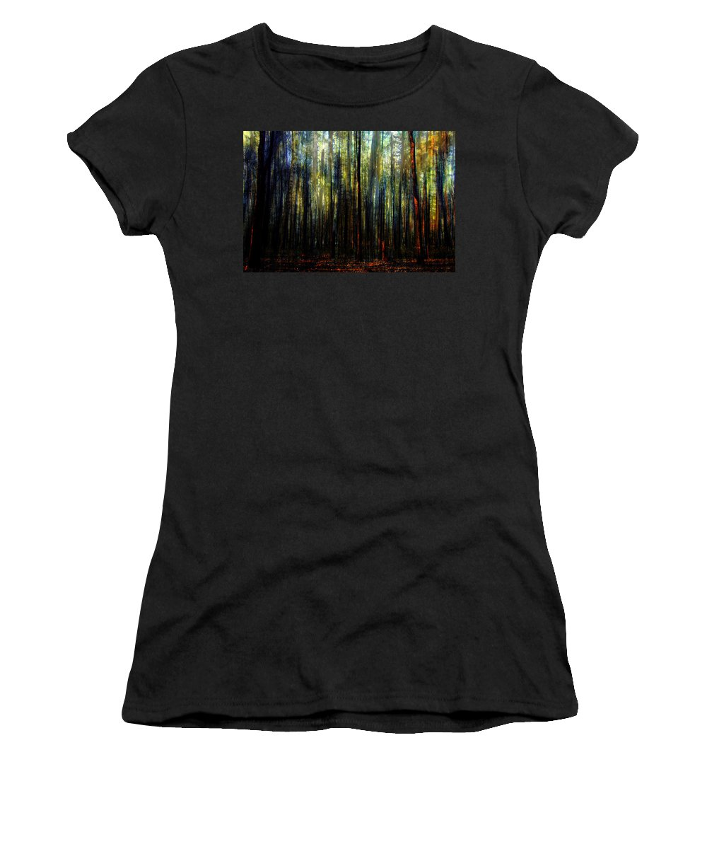 Digital-art Women's T-Shirt featuring the digital art Landscape Forest Trees Tall Pine by Mary Clanahan