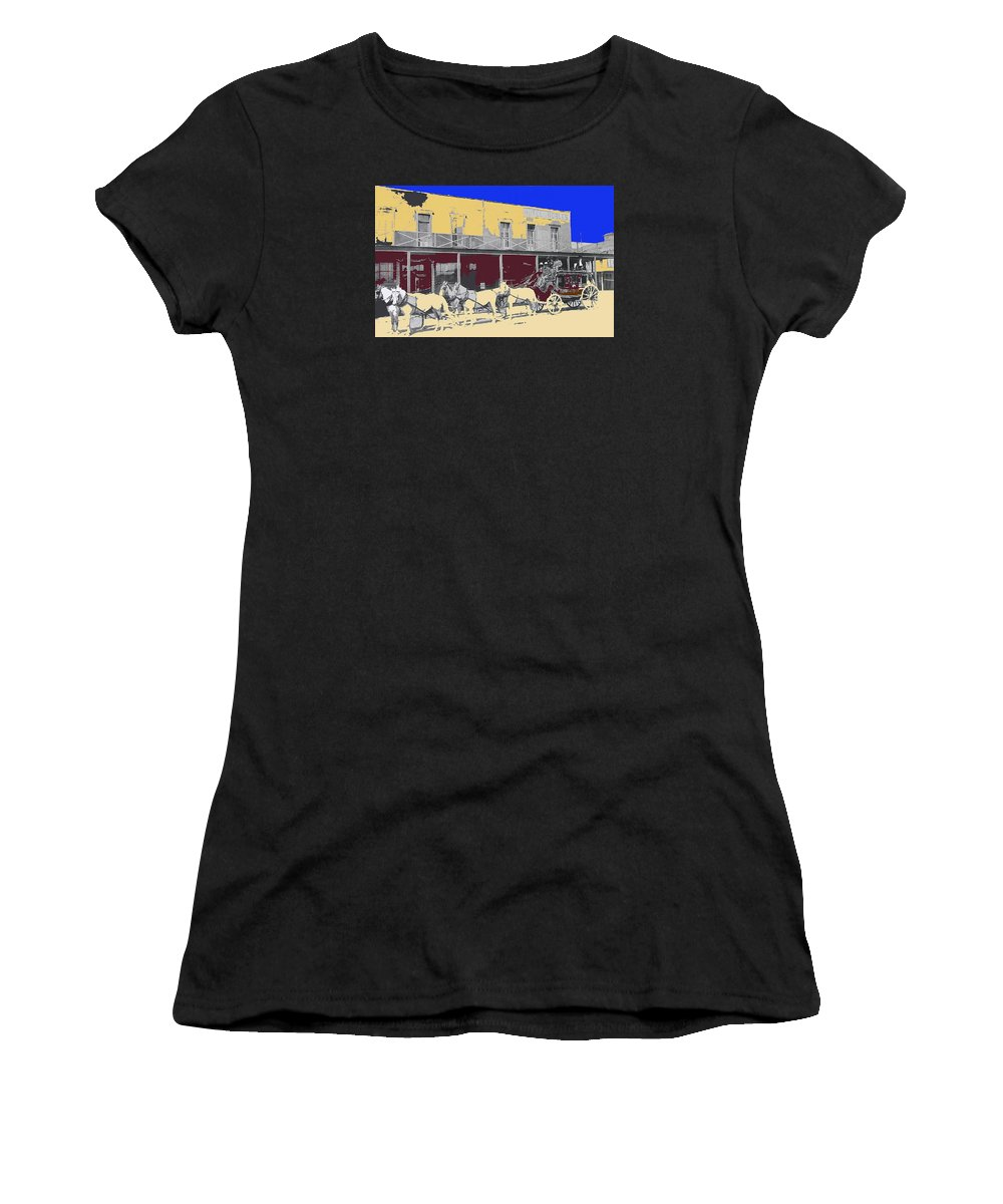 Last Stage To Tombstone Arizona Old Modoc 1903 Robles Hotel Color Added Benson El Paso And Southwestern Rr Women's T-Shirt featuring the photograph Last Stage To Tombstone Arizona Old Modoc 1903-2013 by David Lee Guss
