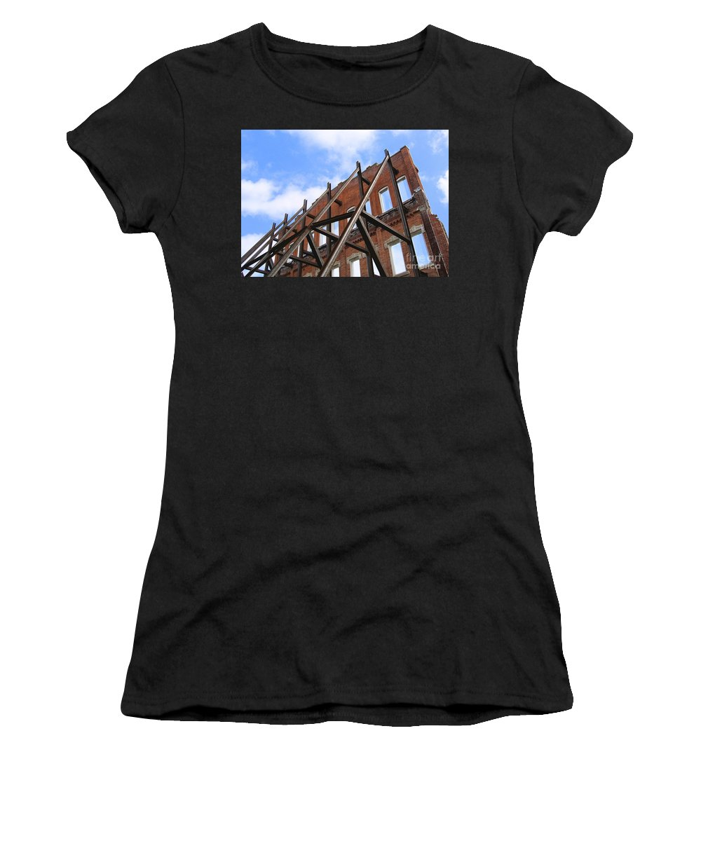 Demolition Women's T-Shirt (Athletic Fit) featuring the photograph Last Wall Standing by Ann Horn