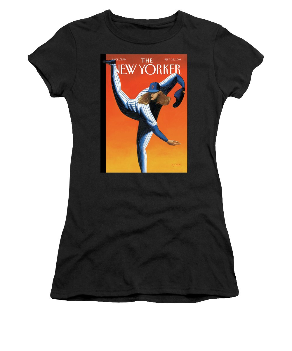 Mets Women's T-Shirt featuring the painting Late Innings by Mark Ulriksen