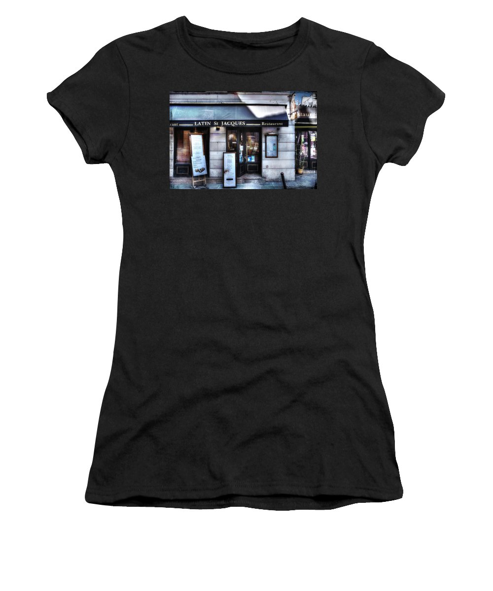 Evie Women's T-Shirt (Athletic Fit) featuring the photograph Latin St Jacques Paris France by Evie Carrier