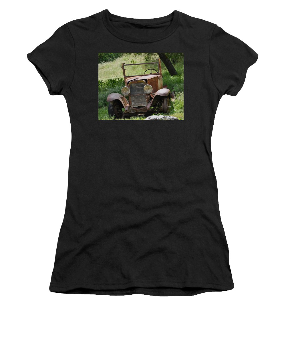 Old Car Women's T-Shirt (Athletic Fit) featuring the photograph Left To Die by Debby Pueschel