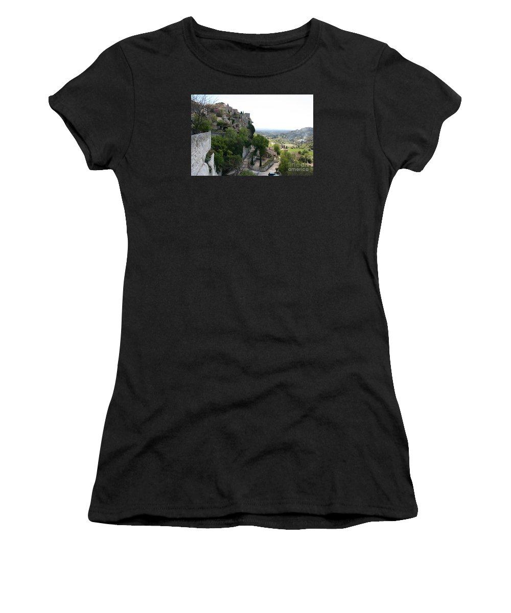 Village Women's T-Shirt (Athletic Fit) featuring the photograph Les Baux De Provence by Christiane Schulze Art And Photography