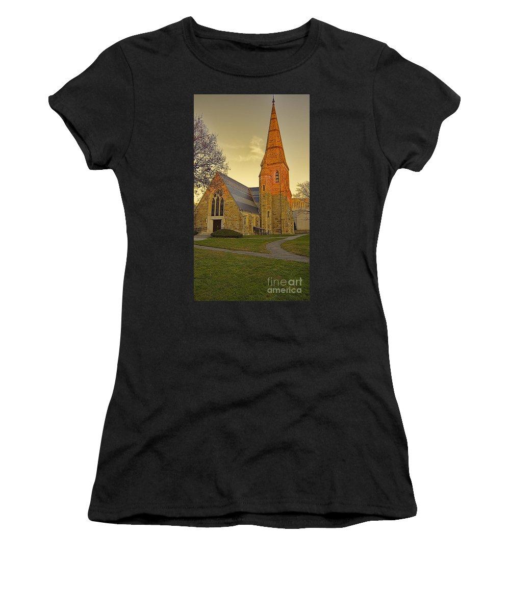 Lesley University Women's T-Shirt (Athletic Fit) featuring the photograph Lesley University Church-cambridge Boston by Douglas Barnard