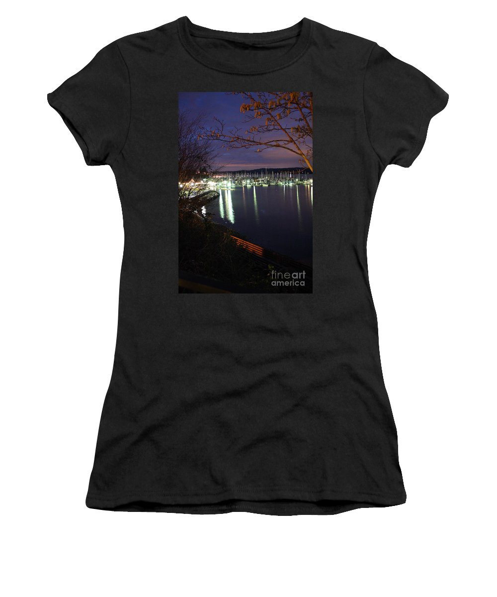 Boat Women's T-Shirt featuring the photograph Liberty Bay At Night by Vicki Maheu