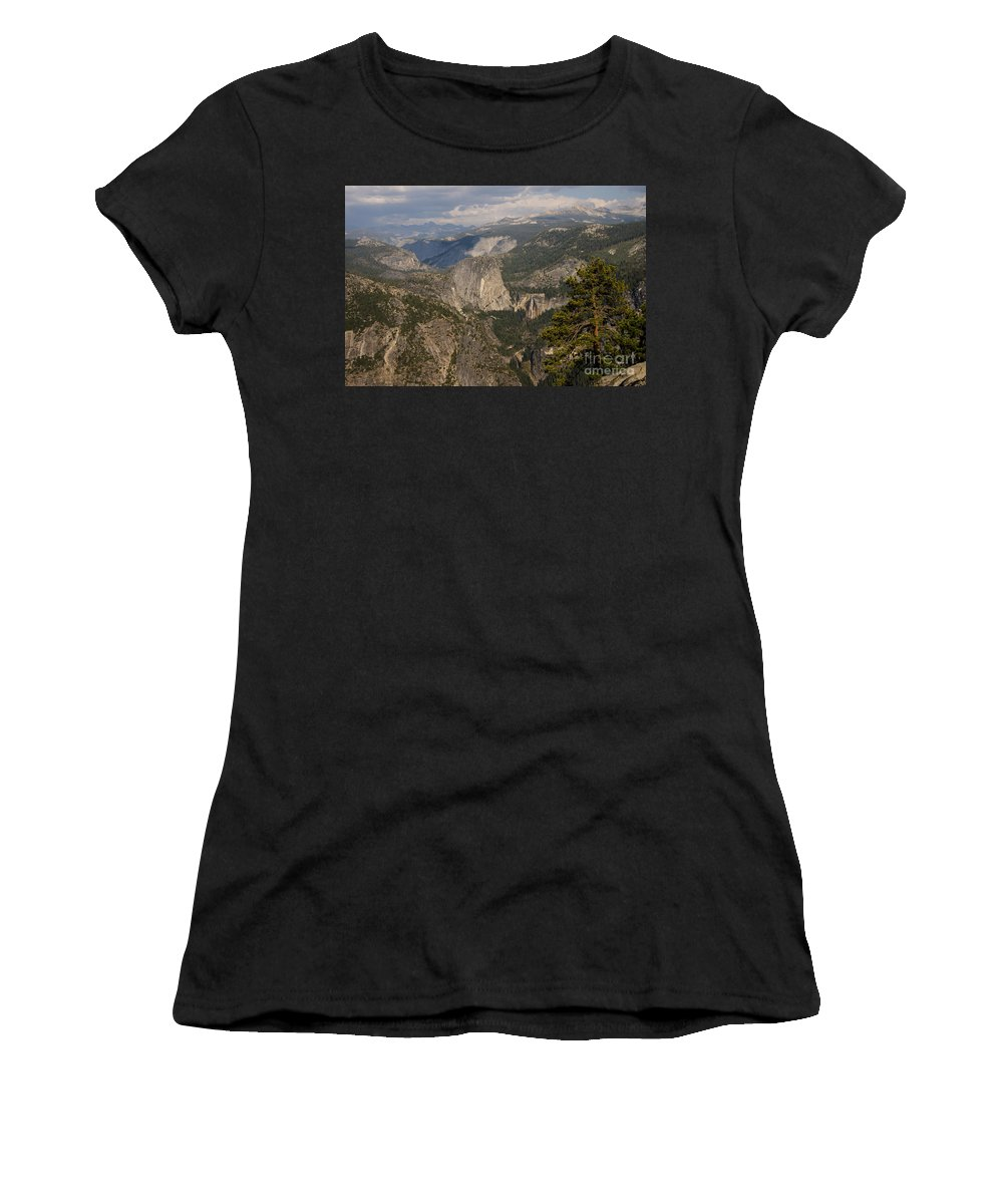 Vernal Falls Waterfall Nevada Waterfalls Tree Trees Yosemite National Park California Parks Landscape Landscapes Rock Rocks Stone Stones Water Mountain Mountains Liberty Cap Women's T-Shirt (Athletic Fit) featuring the photograph Liberty Cap And The Falls by Bob Phillips