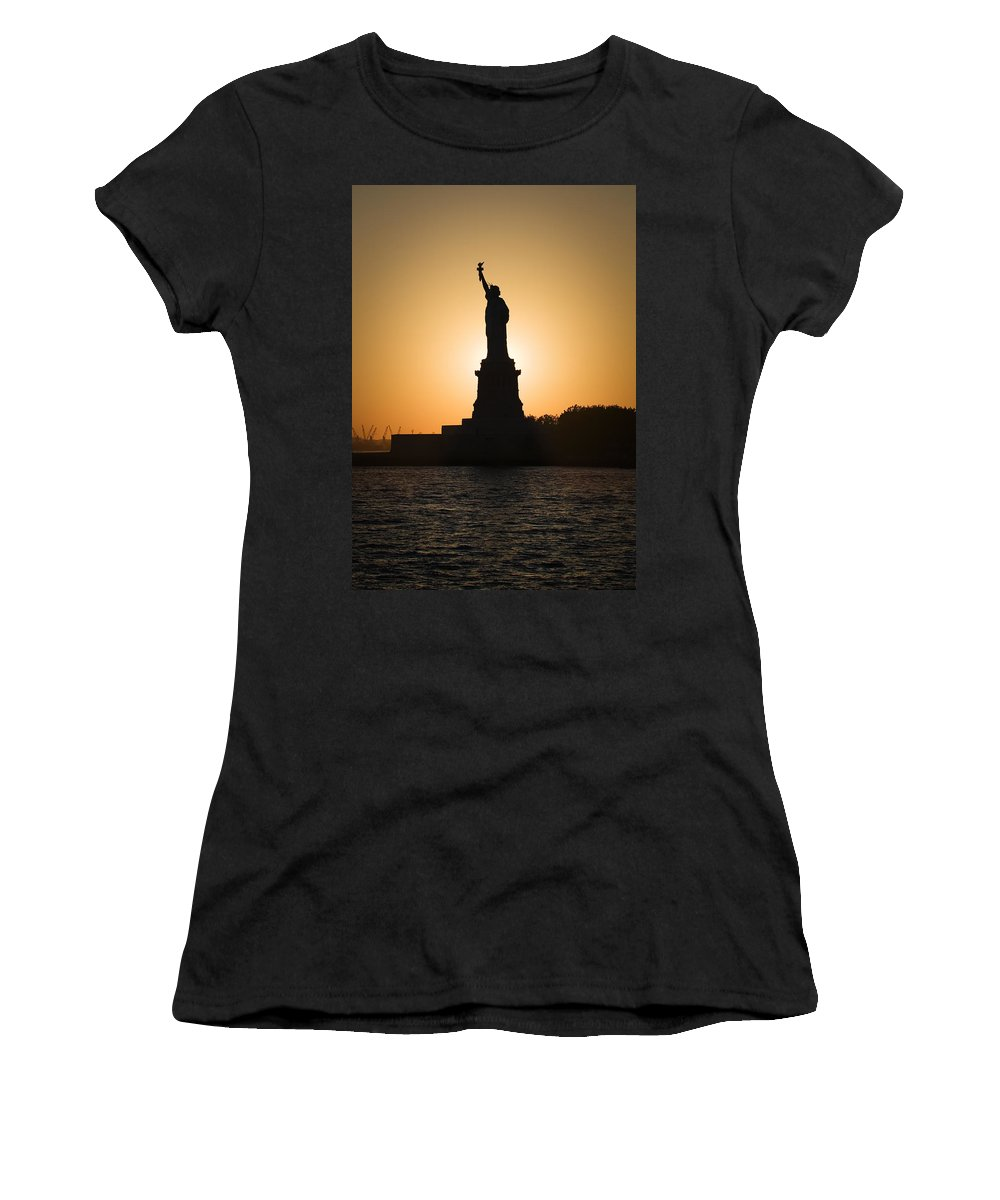 Statue Of Liberty Women's T-Shirt (Athletic Fit) featuring the photograph Liberty Sunset by Dave Bowman