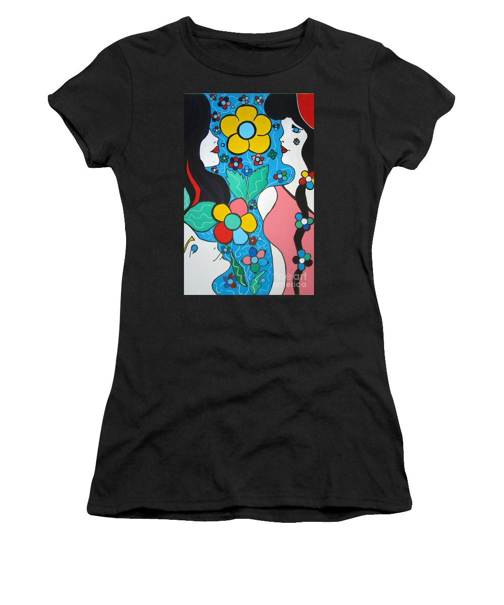 Pop Art Women's T-Shirt (Athletic Fit) featuring the painting Life Is Beautiful by Silvana Abel