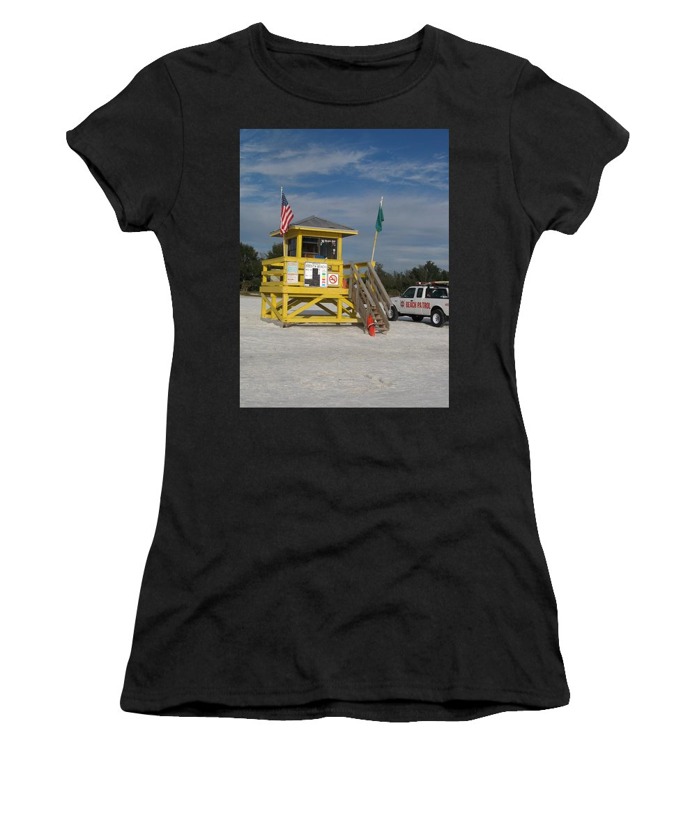 Beach Women's T-Shirt (Athletic Fit) featuring the photograph Lifeguard And Beachpatrol by Christiane Schulze Art And Photography