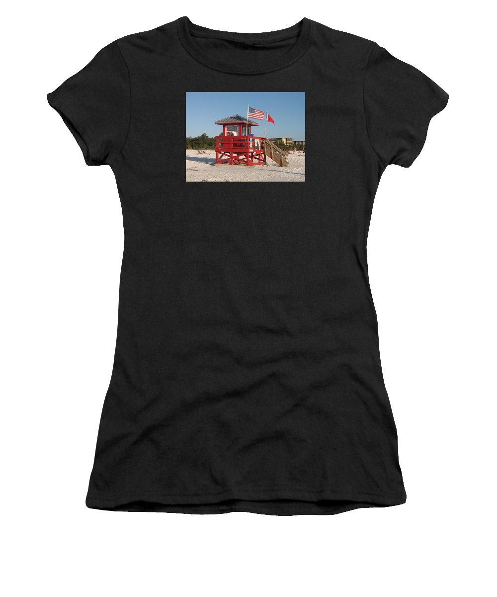 Beach Women's T-Shirt (Athletic Fit) featuring the photograph Lifeguard Siesta Beach by Christiane Schulze Art And Photography