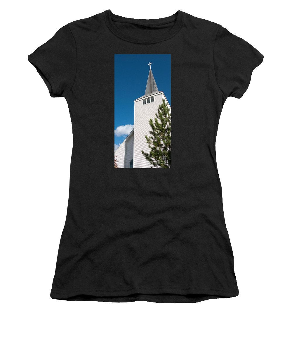 Cross Women's T-Shirt (Athletic Fit) featuring the photograph Lift High The Cross by Ann Horn