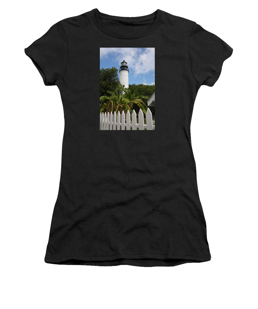 Ligthouse Women's T-Shirt featuring the photograph A Sailoirs Guide On The Florida Keys by Christiane Schulze Art And Photography