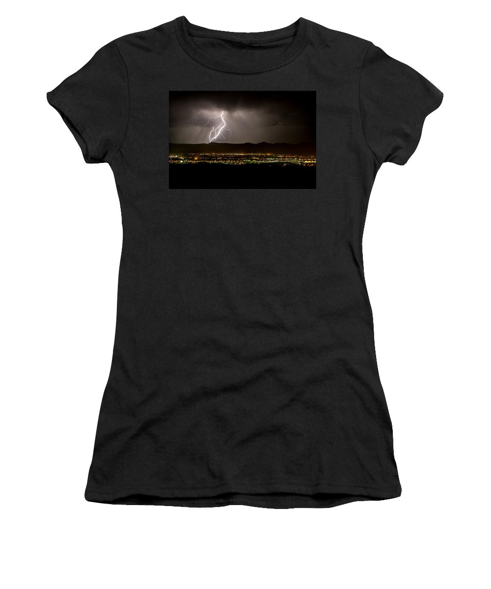Bolts Women's T-Shirt (Athletic Fit) featuring the photograph Lightning 4 by Jeff Stoddart