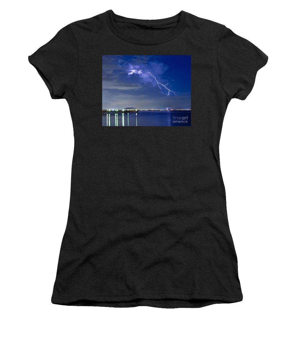 Lightning Women's T-Shirt featuring the photograph Lightning Over Safety Harbor Pier by Stephen Whalen