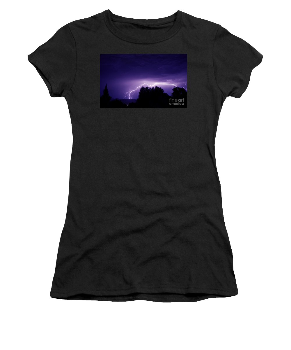 Storm Women's T-Shirt (Athletic Fit) featuring the photograph Lightning Skies by Andrea Goodrich
