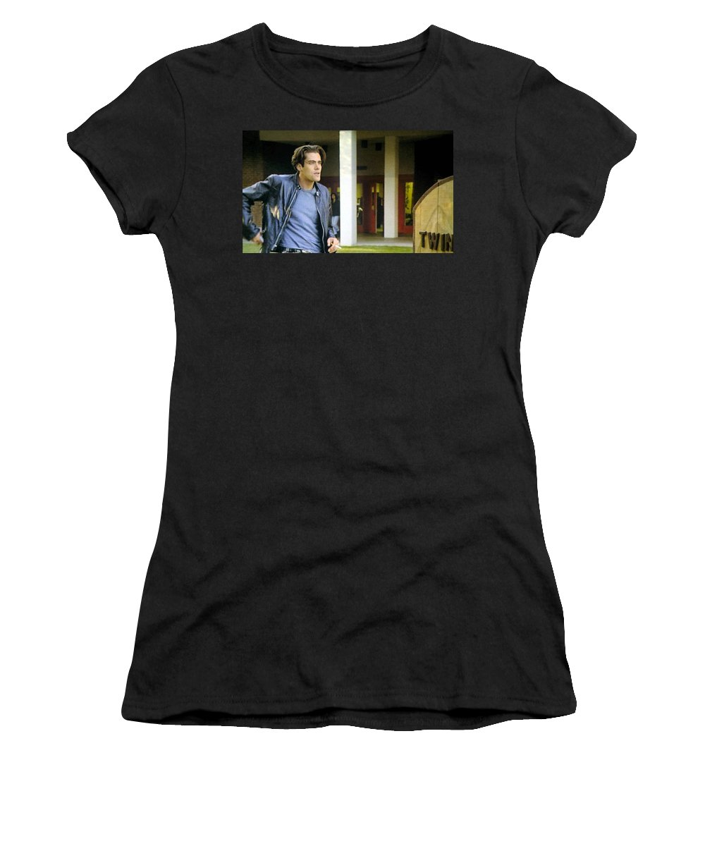 Laura Palmer Women's T-Shirt featuring the painting Lights Start Changing by Luis Ludzska