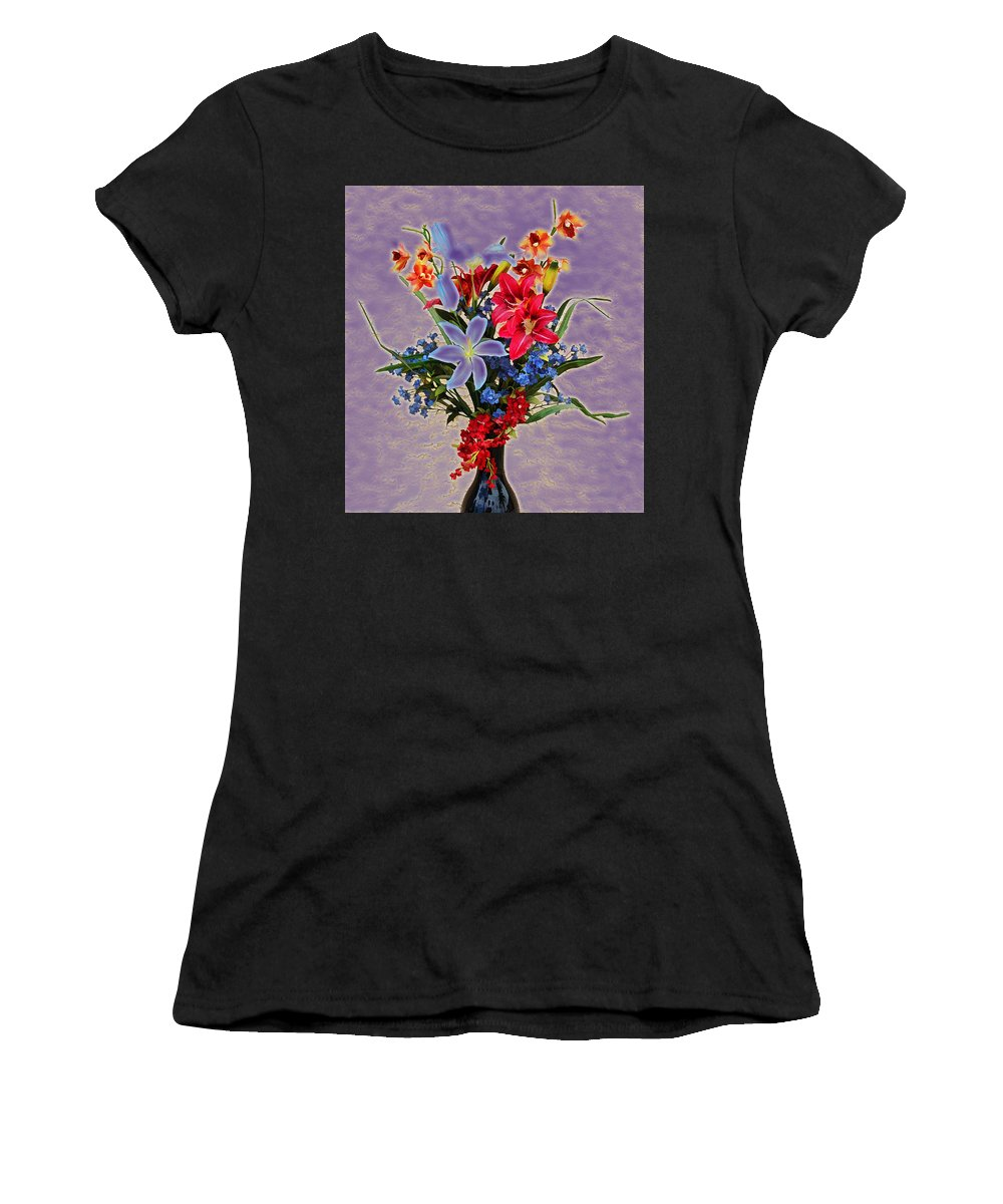 Linda Brody Women's T-Shirt (Athletic Fit) featuring the photograph Lilies And Orchids Topaz II by Linda Brody