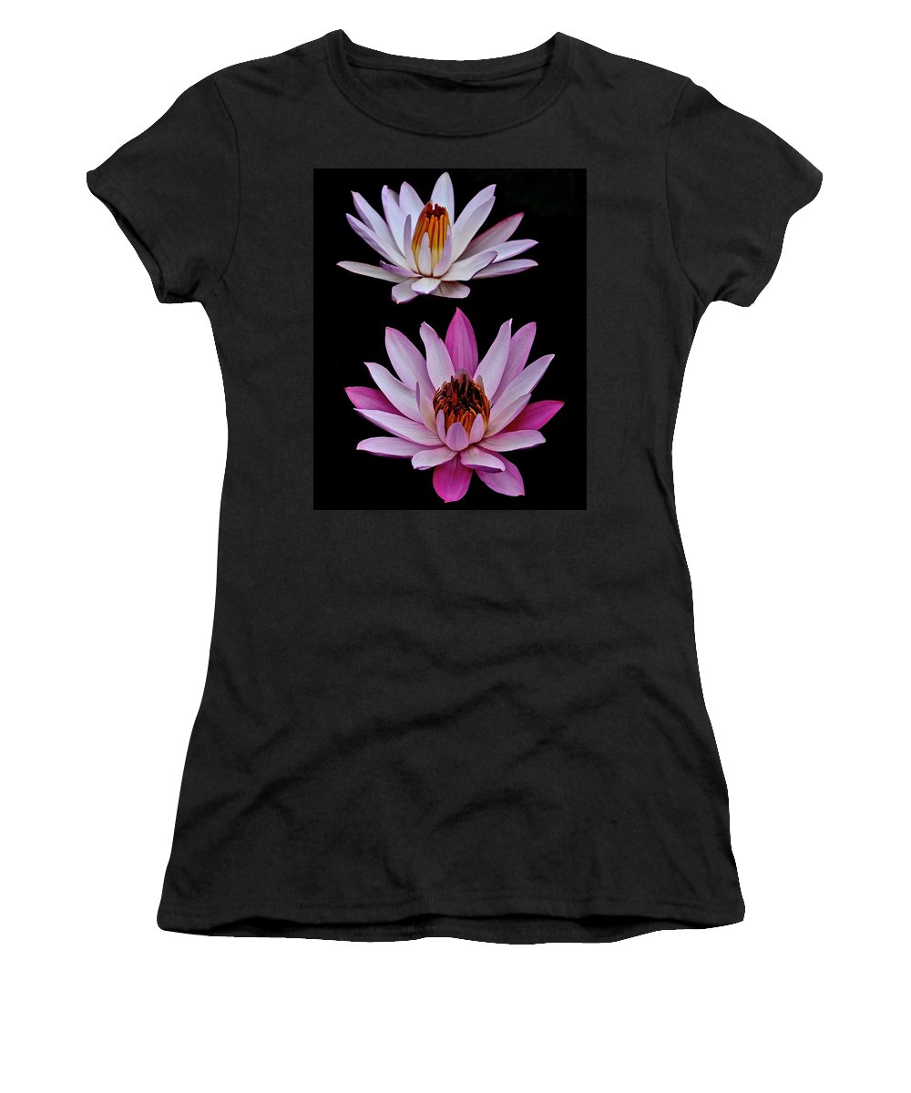 Water Women's T-Shirt (Athletic Fit) featuring the photograph Lilies In Black by Frozen in Time Fine Art Photography