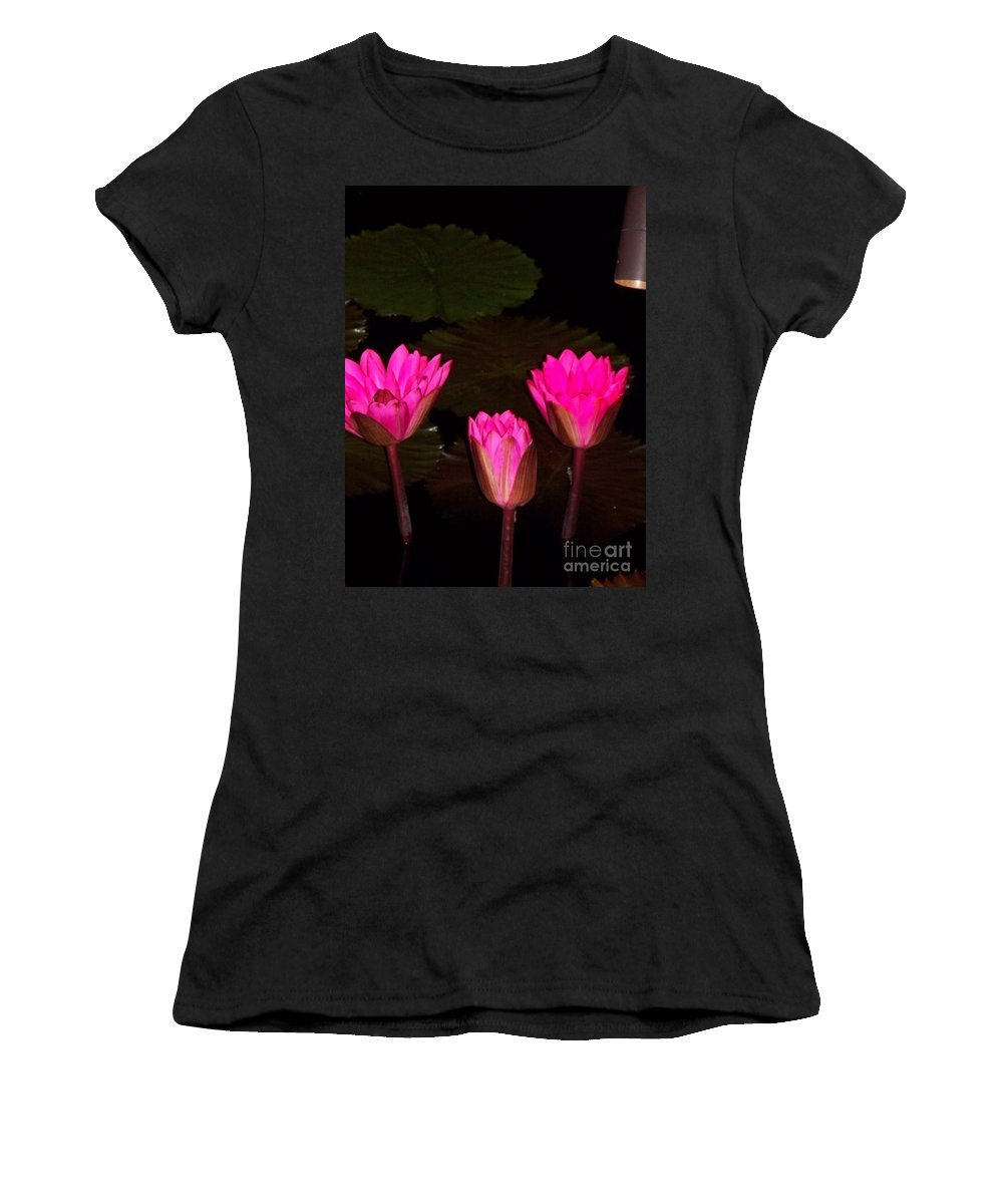 Water Lilies Women's T-Shirt (Athletic Fit) featuring the photograph Lily Night Time by Eric Schiabor
