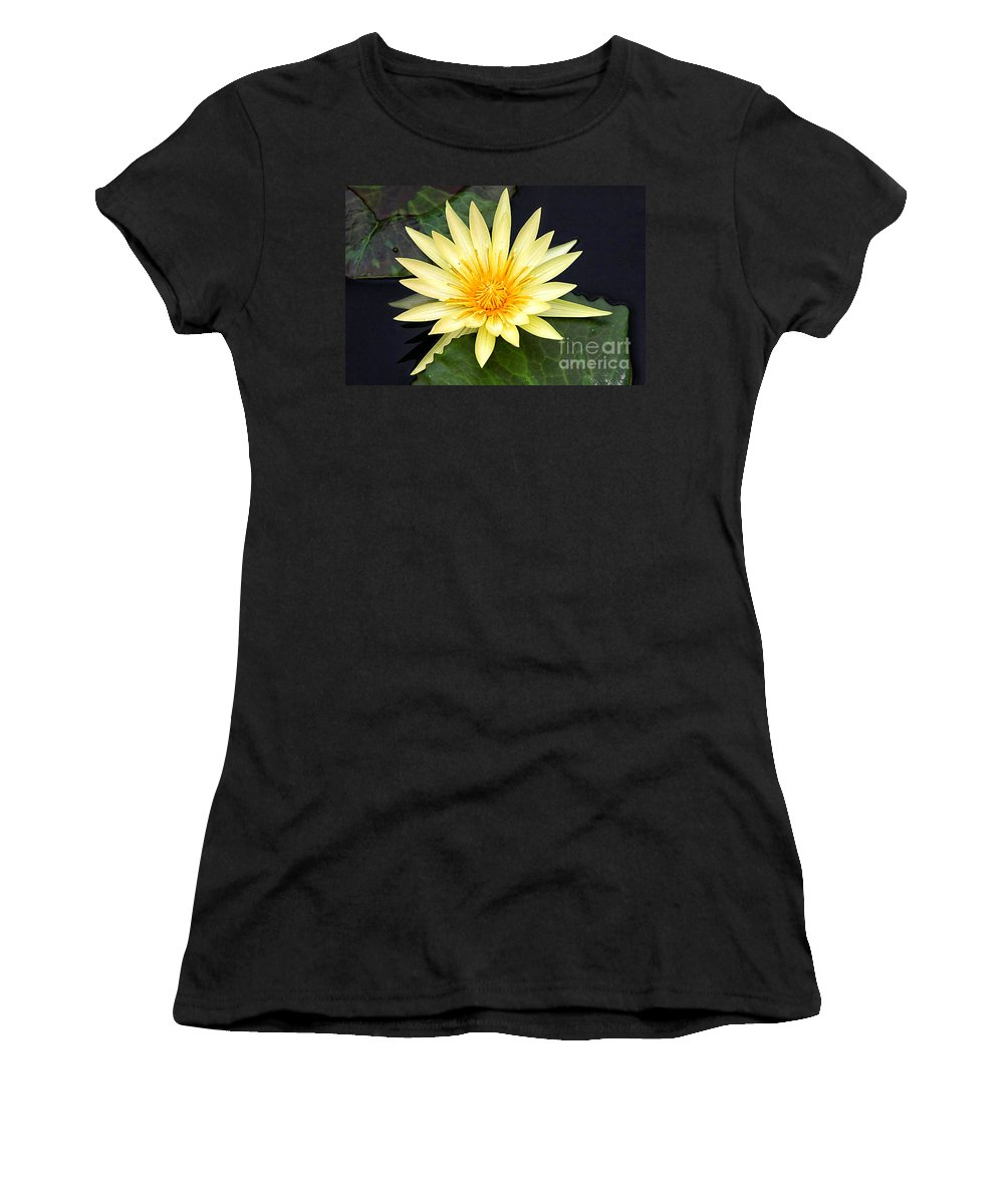 Lily Pad Women's T-Shirt featuring the photograph Lily Pad Yellow by Timothy Hacker