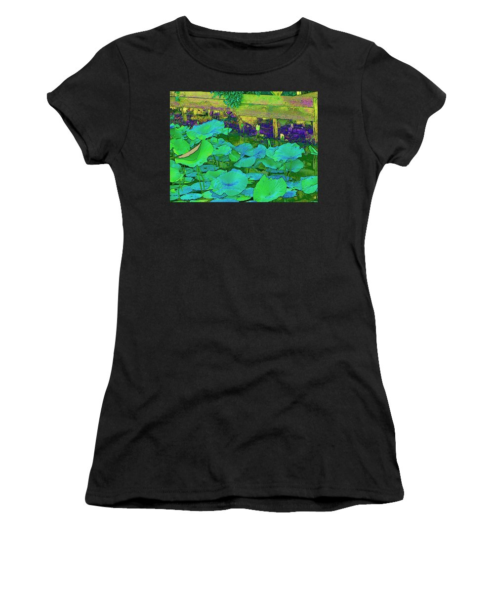 Lily Pads Women's T-Shirt (Athletic Fit) featuring the digital art Lily Pads by Bonnie Willis