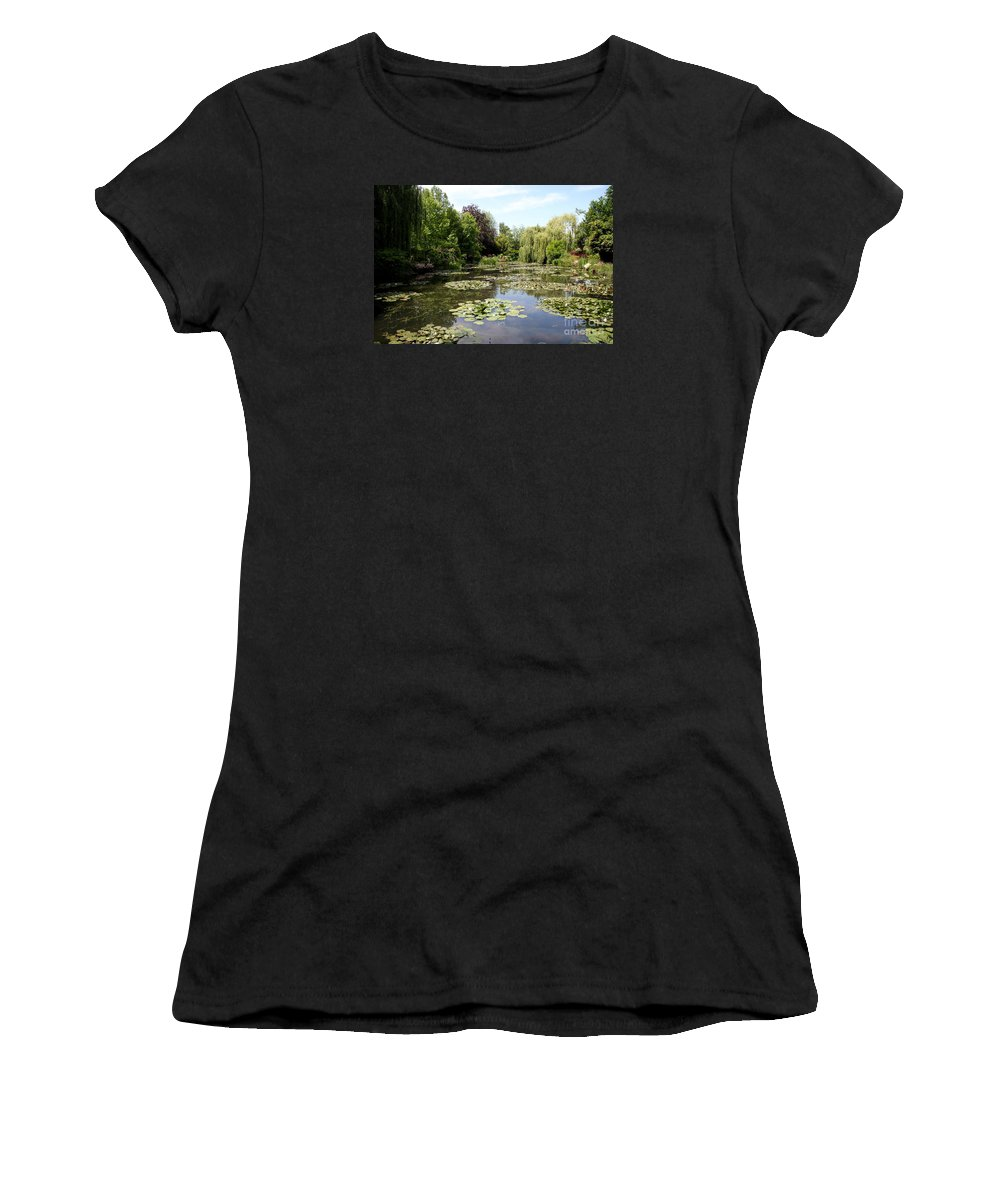Claude Monet Women's T-Shirt featuring the photograph Lilypond Monets Garden by Christiane Schulze Art And Photography