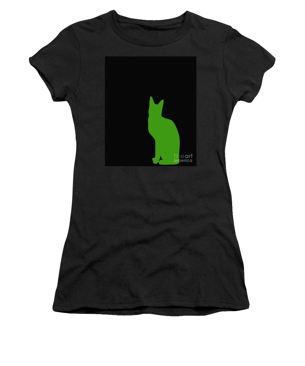 Green Cat On Black Background Women's T-Shirt featuring the digital art Lime Green Cat On Black Background by Barbara Griffin