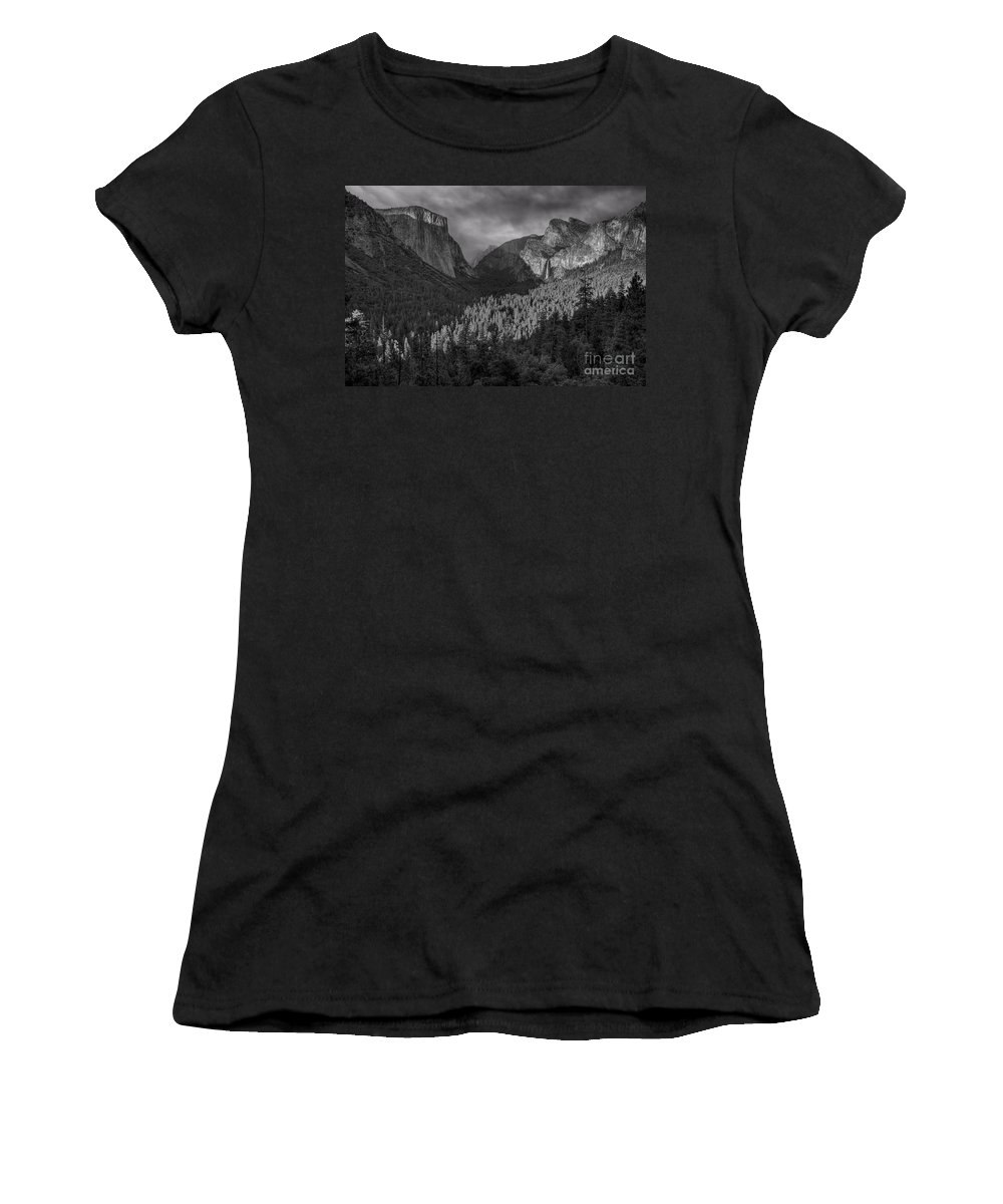 El Capitan Women's T-Shirt (Athletic Fit) featuring the photograph Lingering Shadows In Grey by James Anderson
