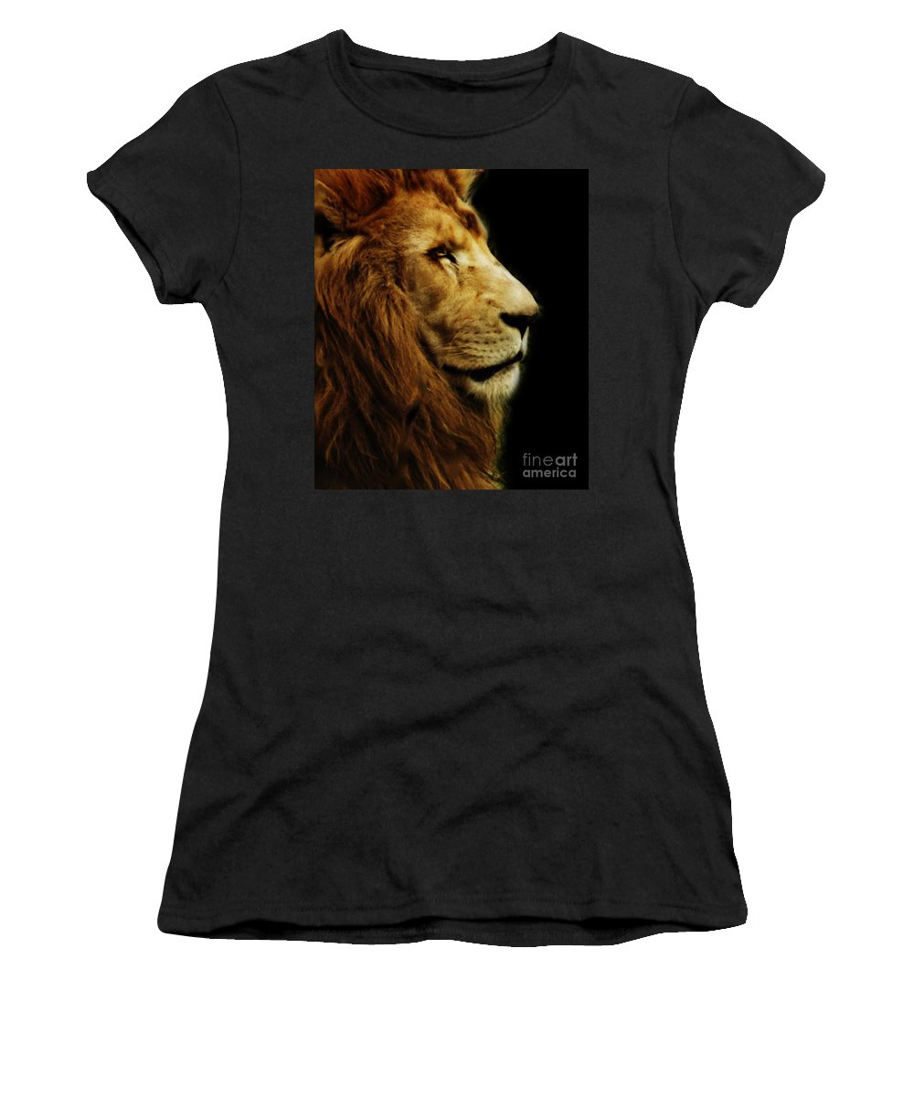 Animals Women's T-Shirt featuring the photograph Lion by Ben Yassa