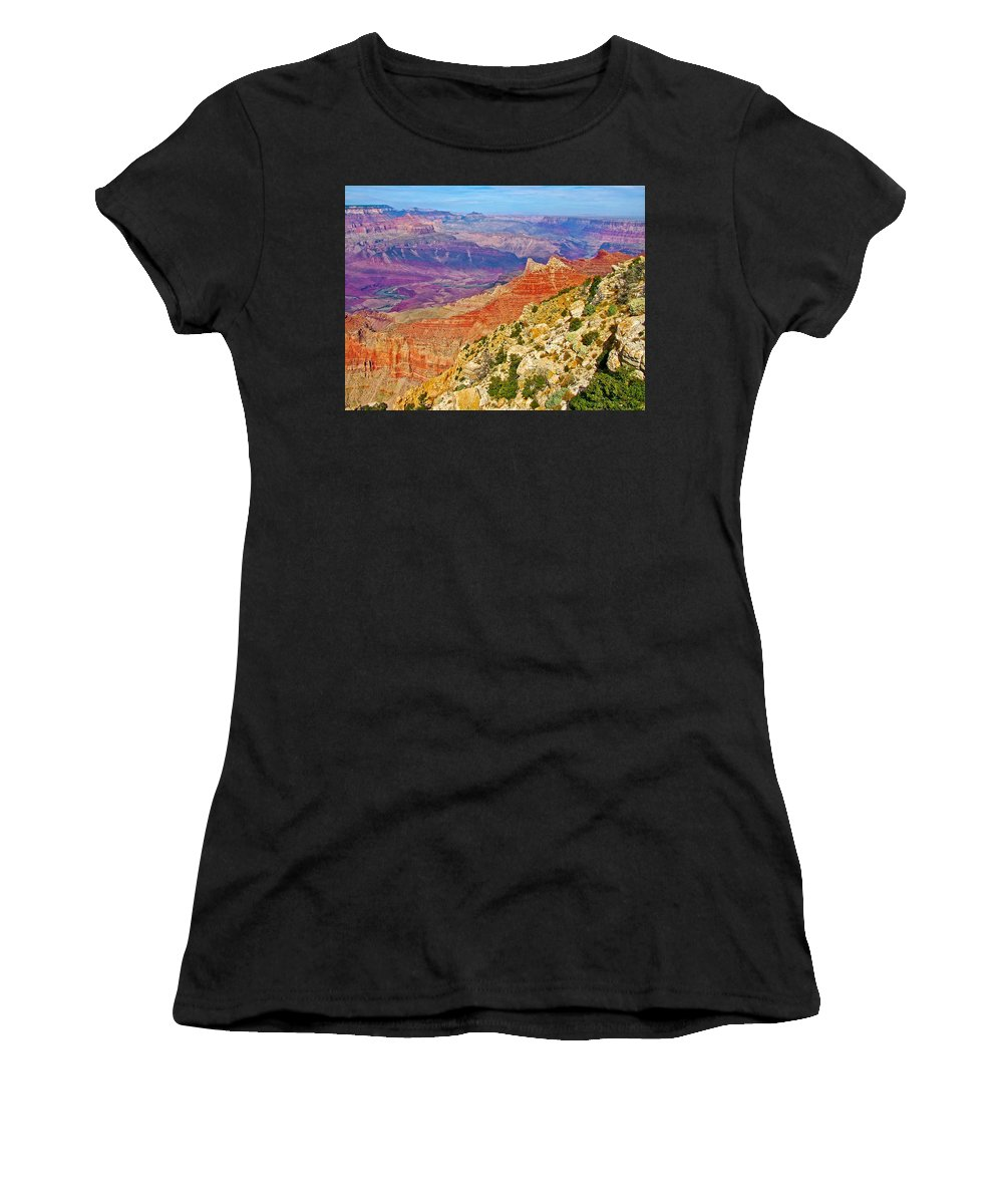 Lipan Point View On East Side Of South Rim Of Grand Canyon Women's T-Shirt (Athletic Fit) featuring the photograph Lipan Point View On East Side Of South Rim Of Grand Canyon-arizona  by Ruth Hager