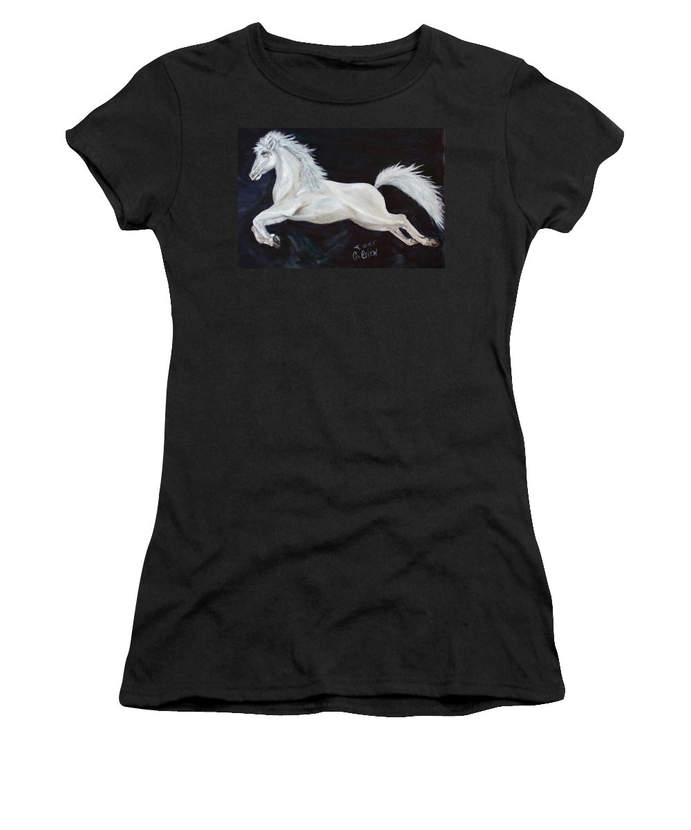 Horse Women's T-Shirt featuring the painting Lipizzaner Capriole by Caroline Owen-Doar