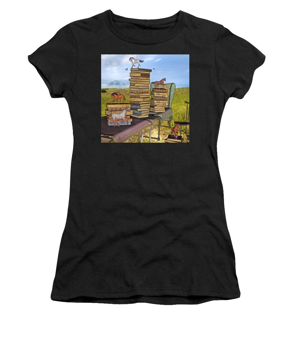Library Women's T-Shirt (Athletic Fit) featuring the mixed media Literary Levels by Betsy Knapp