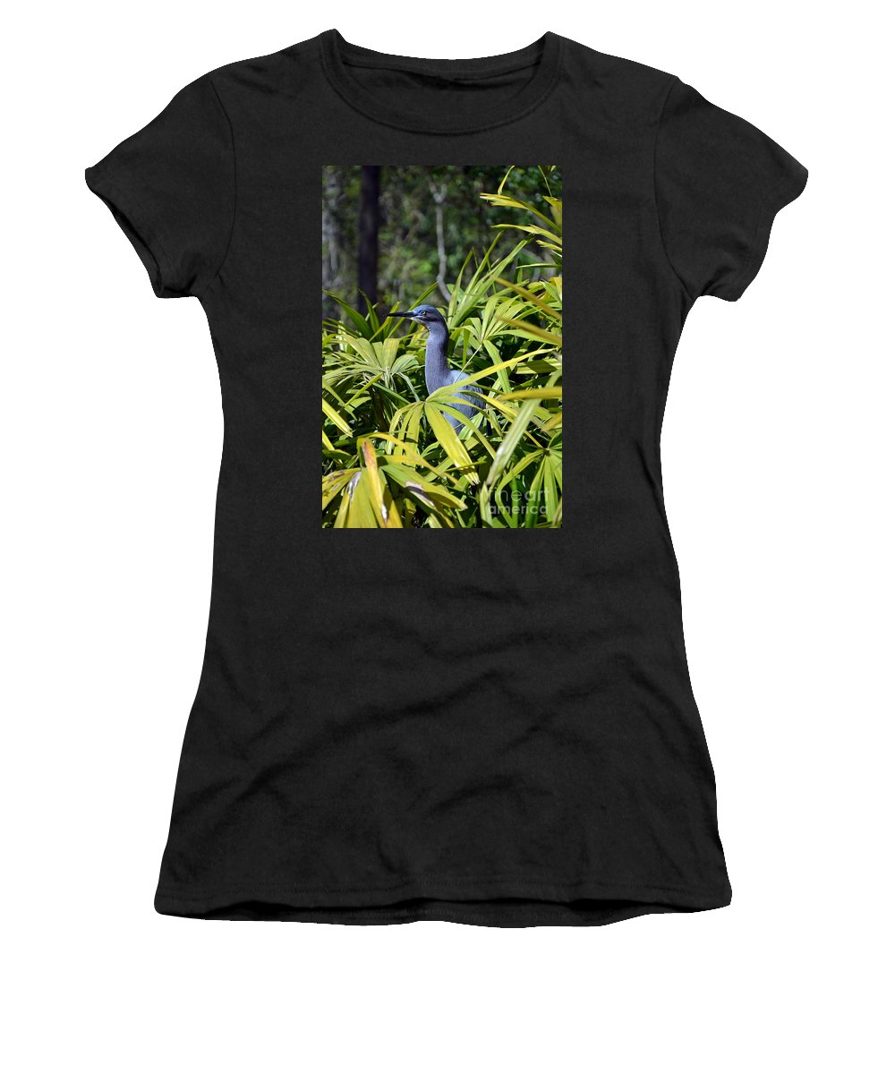 Little Blue Heron Women's T-Shirt (Athletic Fit) featuring the photograph Little Blue Heron by Robert Meanor