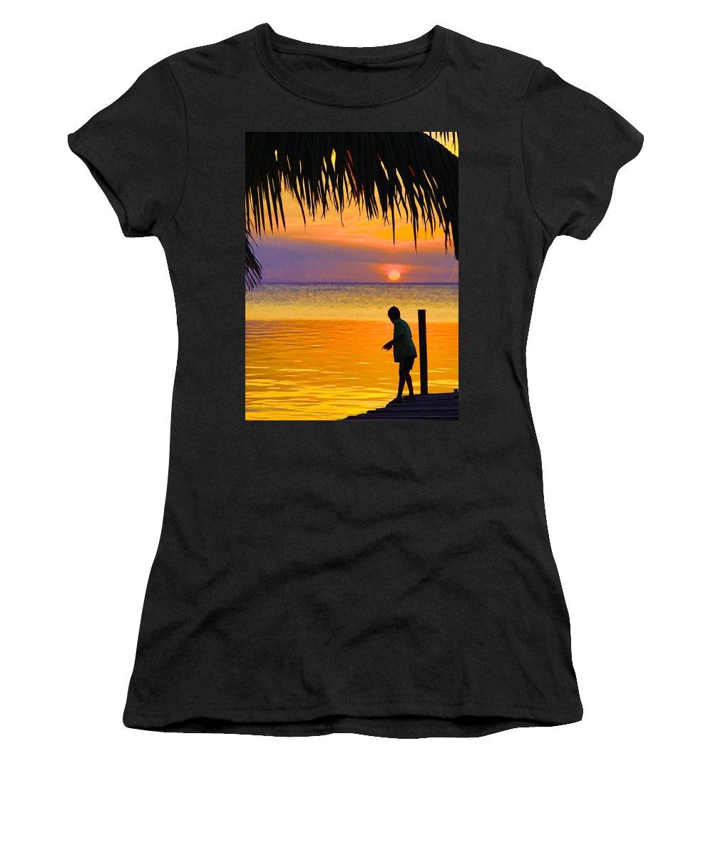 Photograph Women's T-Shirt (Athletic Fit) featuring the photograph Little Boy Fishing Caye Caulker Belize by Lee Vanderwalker