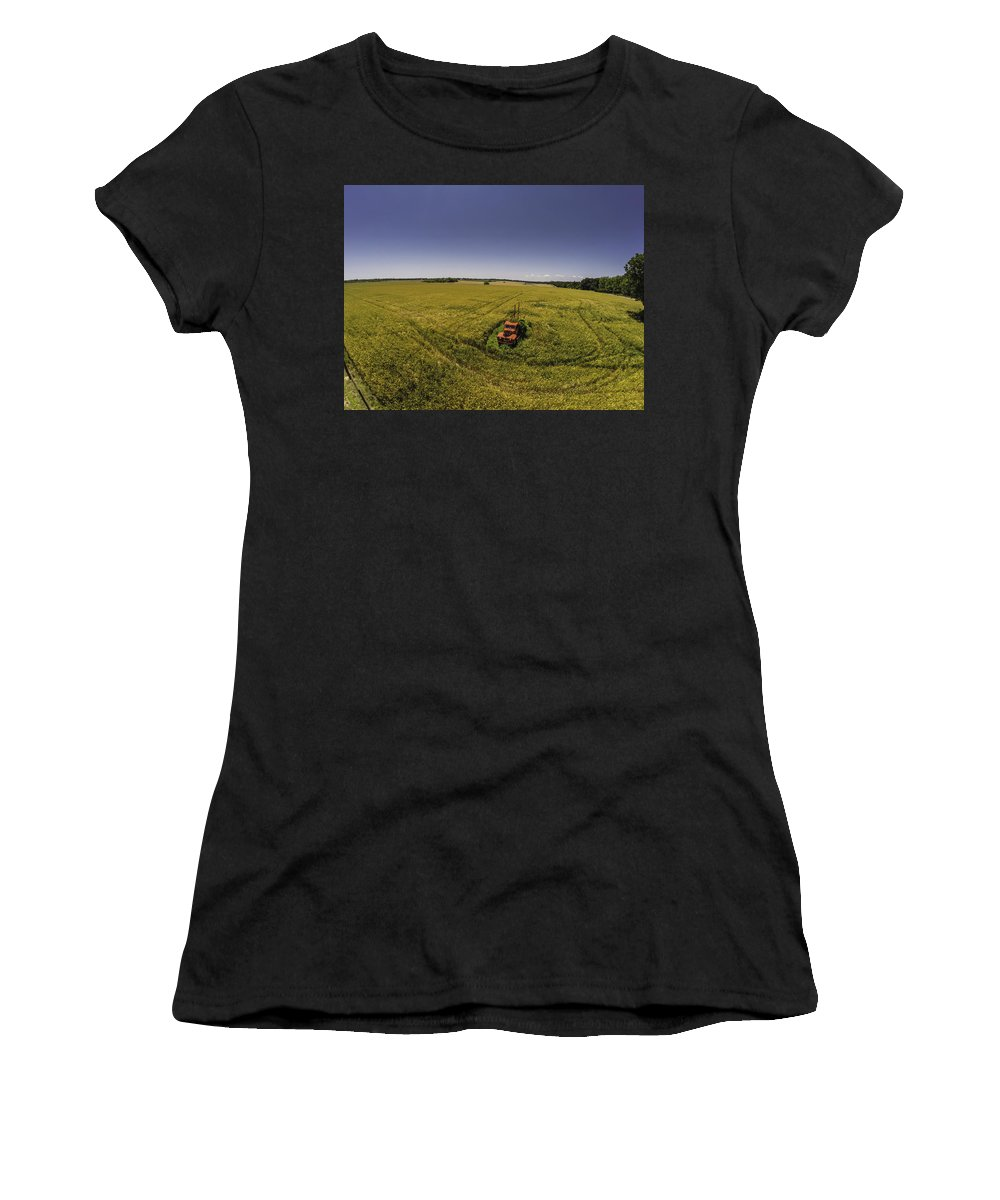 Palm Women's T-Shirt (Athletic Fit) featuring the digital art Little Firetruck In A Big Field by Michael Thomas