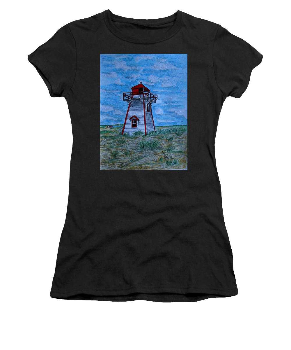 Red Women's T-Shirt (Athletic Fit) featuring the painting Little Red And White Lighthouse by Kathy Marrs Chandler