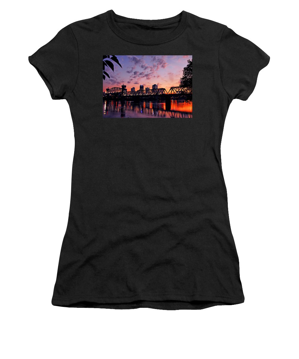 Little Rock Women's T-Shirt (Athletic Fit) featuring the photograph Little Rock Bridge Sunset by Mitchell R Grosky
