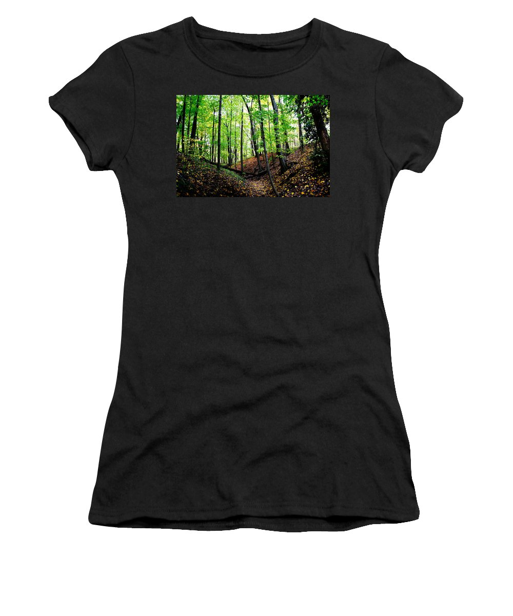 Camp Libby Women's T-Shirt featuring the photograph Little Valley 2 by Michael Arend