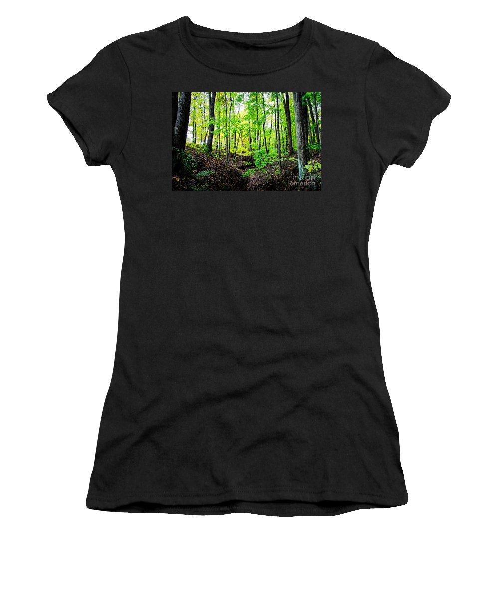 Camp Libby Women's T-Shirt featuring the photograph Little Valley 3 by Michael Arend