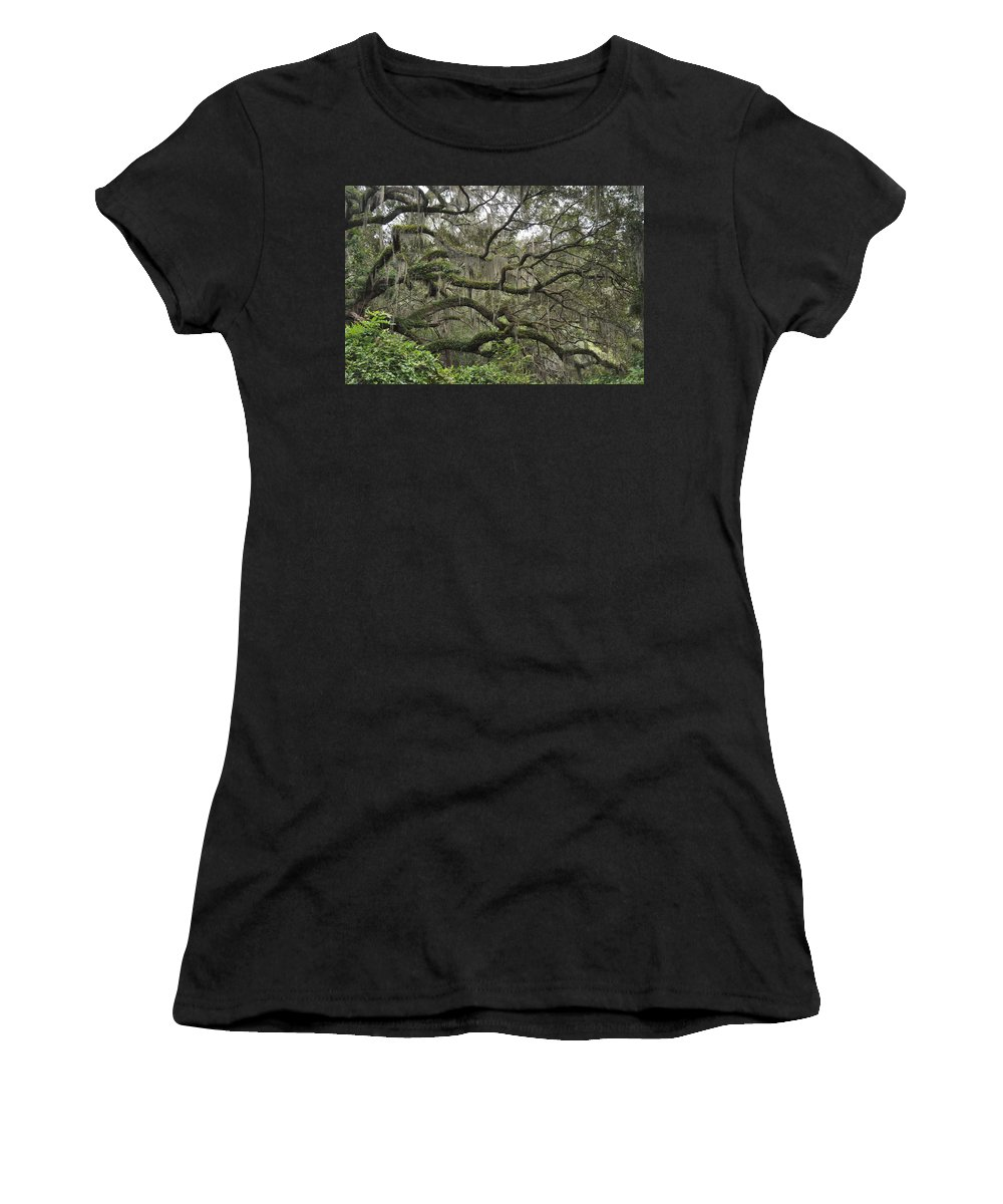 Live Oaks Women's T-Shirt featuring the photograph Live Oaks And Spanish Moss B by Kay Mathews