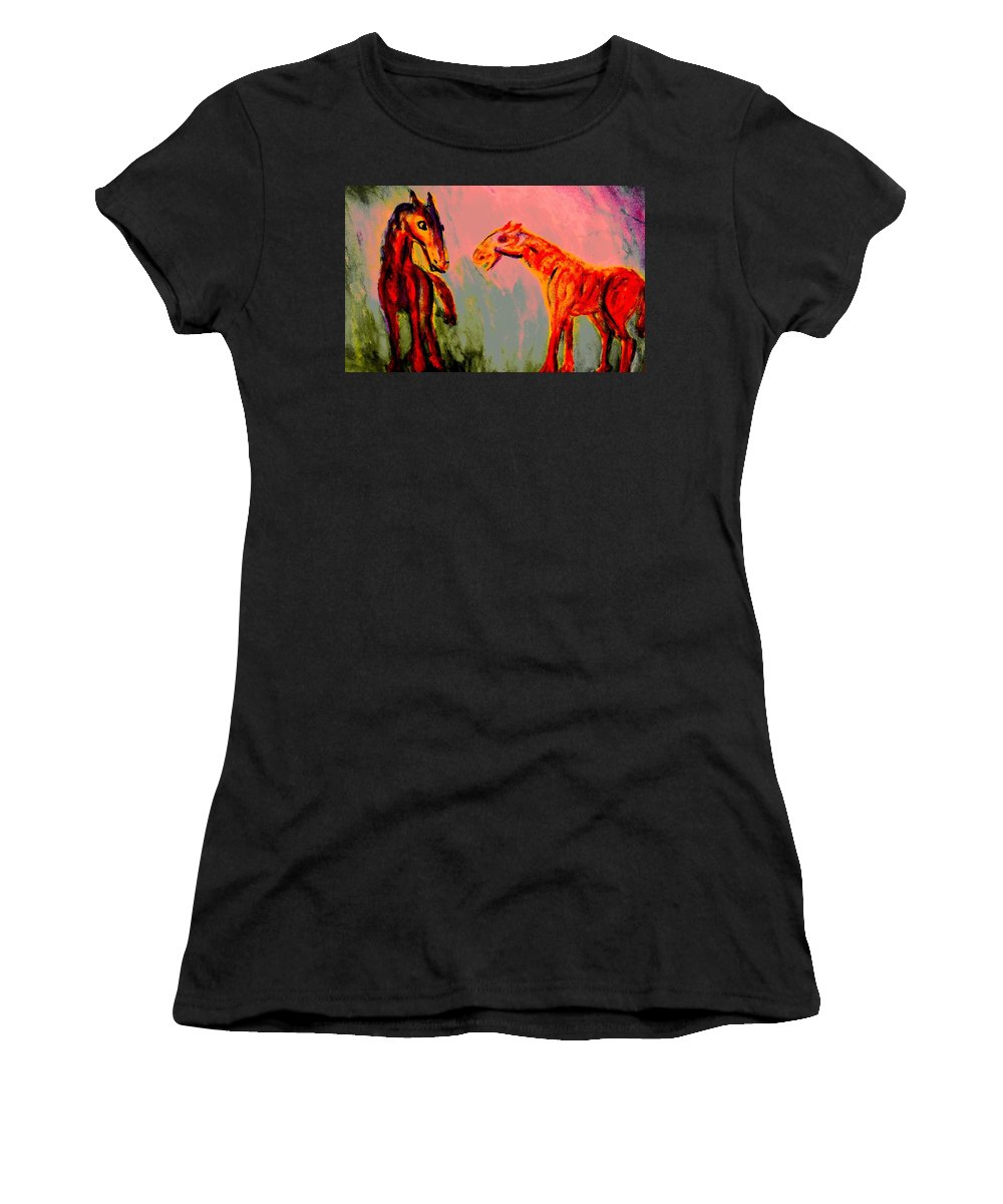 Horses Women's T-Shirt featuring the painting You Will Be Living In My Dreams by Hilde Widerberg