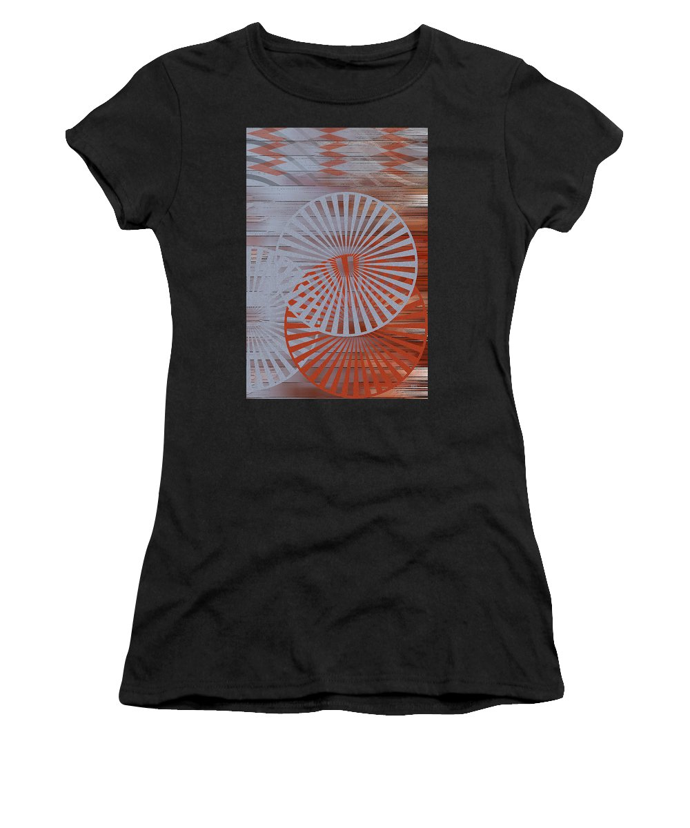 Geometric Abstract Women's T-Shirt featuring the digital art Living Spaces No 1 by Ben and Raisa Gertsberg