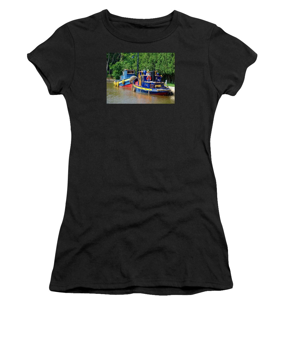 Lock Tugs Women's T-Shirt featuring the photograph Lock Tugs by Eric Swan