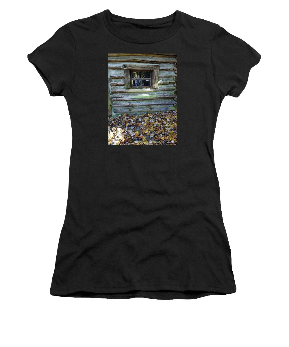 Log Cabin Women's T-Shirt featuring the photograph Log Cabin Window And Fall Leaves by Rebecca Korpita
