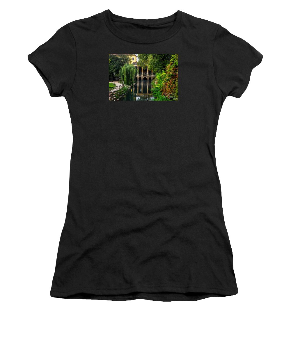Vicenza Italy Women's T-Shirt featuring the photograph Loggia Valmarana On The Seriola by Prints of Italy