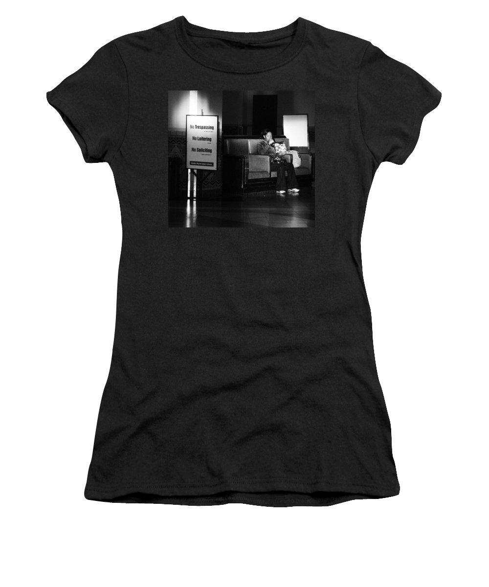 Film Women's T-Shirt featuring the photograph Loitering by Jennifer Ann Henry