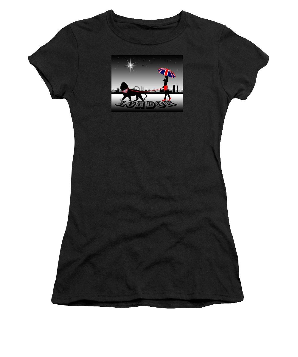 Fashion Women's T-Shirt featuring the digital art London Catwalk Queen Too by Peter Stevenson