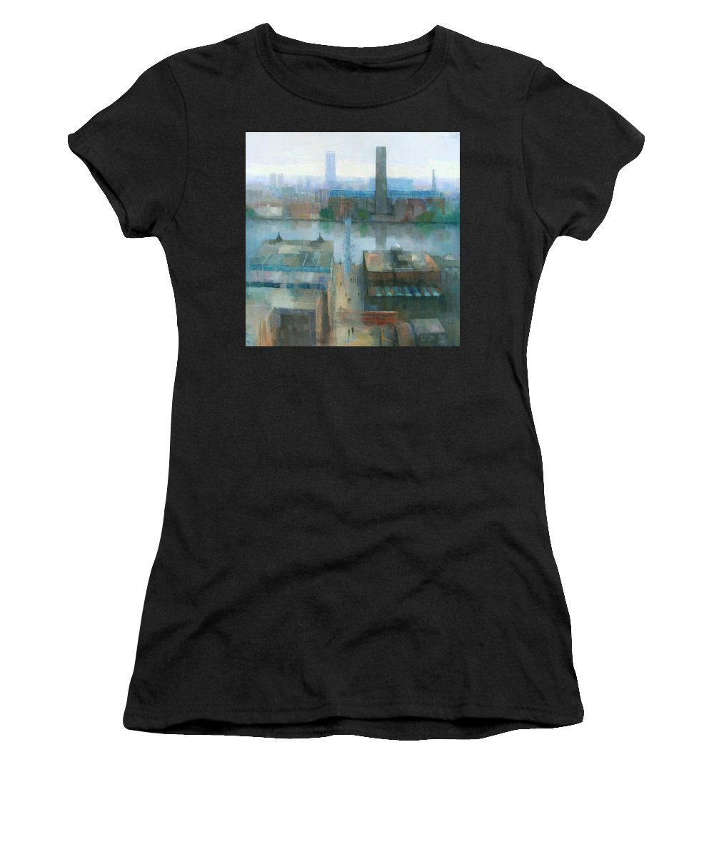 Original Women's T-Shirt (Athletic Fit) featuring the painting London Cityscape by Steve Mitchell