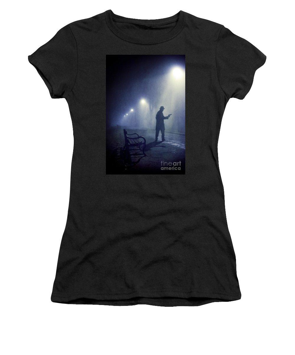 Gunman Women's T-Shirt featuring the photograph Lone Gunman In Fog At Night by Lee Avison