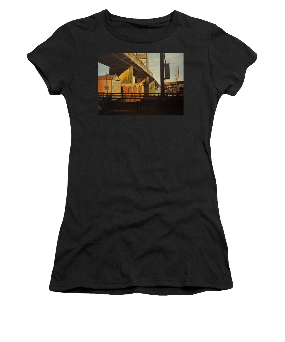 Bridge Women's T-Shirt featuring the painting Lone Seagull by Thu Nguyen
